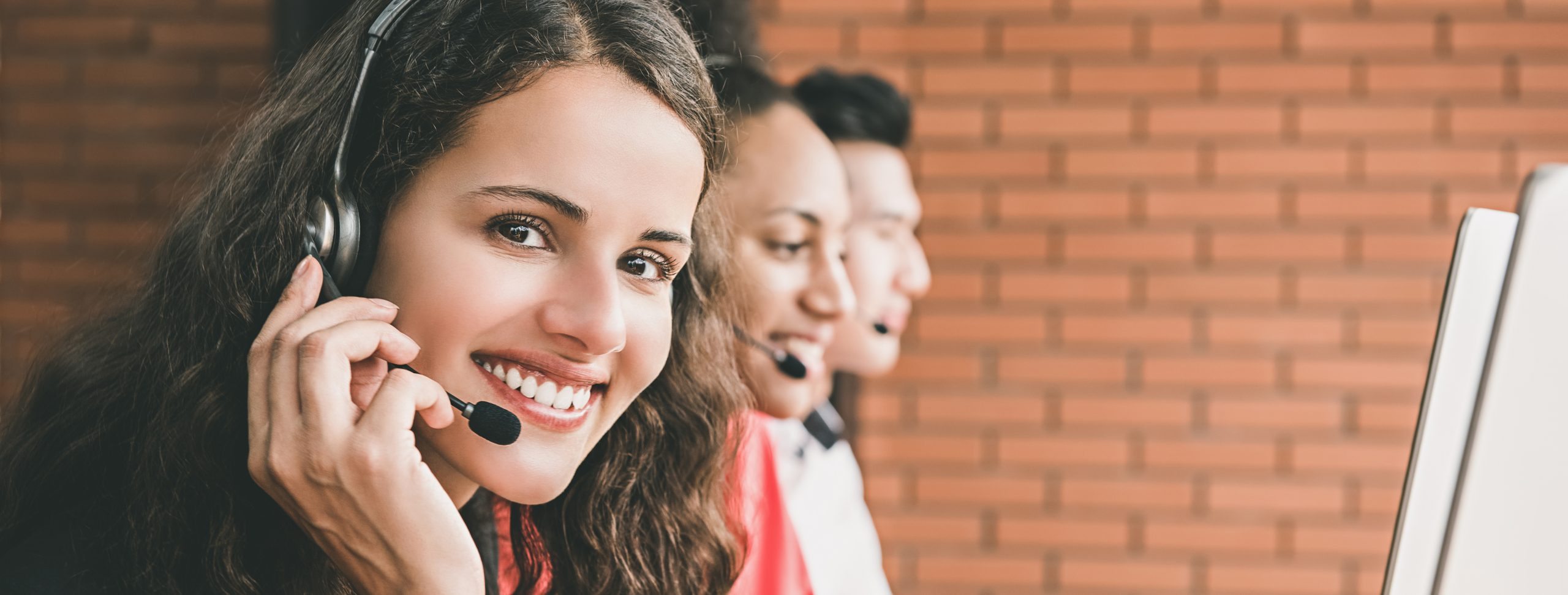 Businesswoman agent working in call center